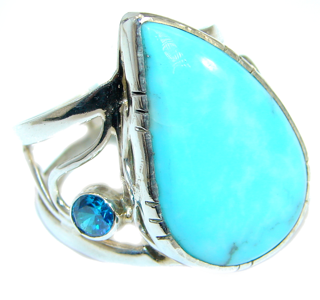 Sleeping Beauty  Turquoise .925  Sterling Silver handmade Ring size 7 1/4