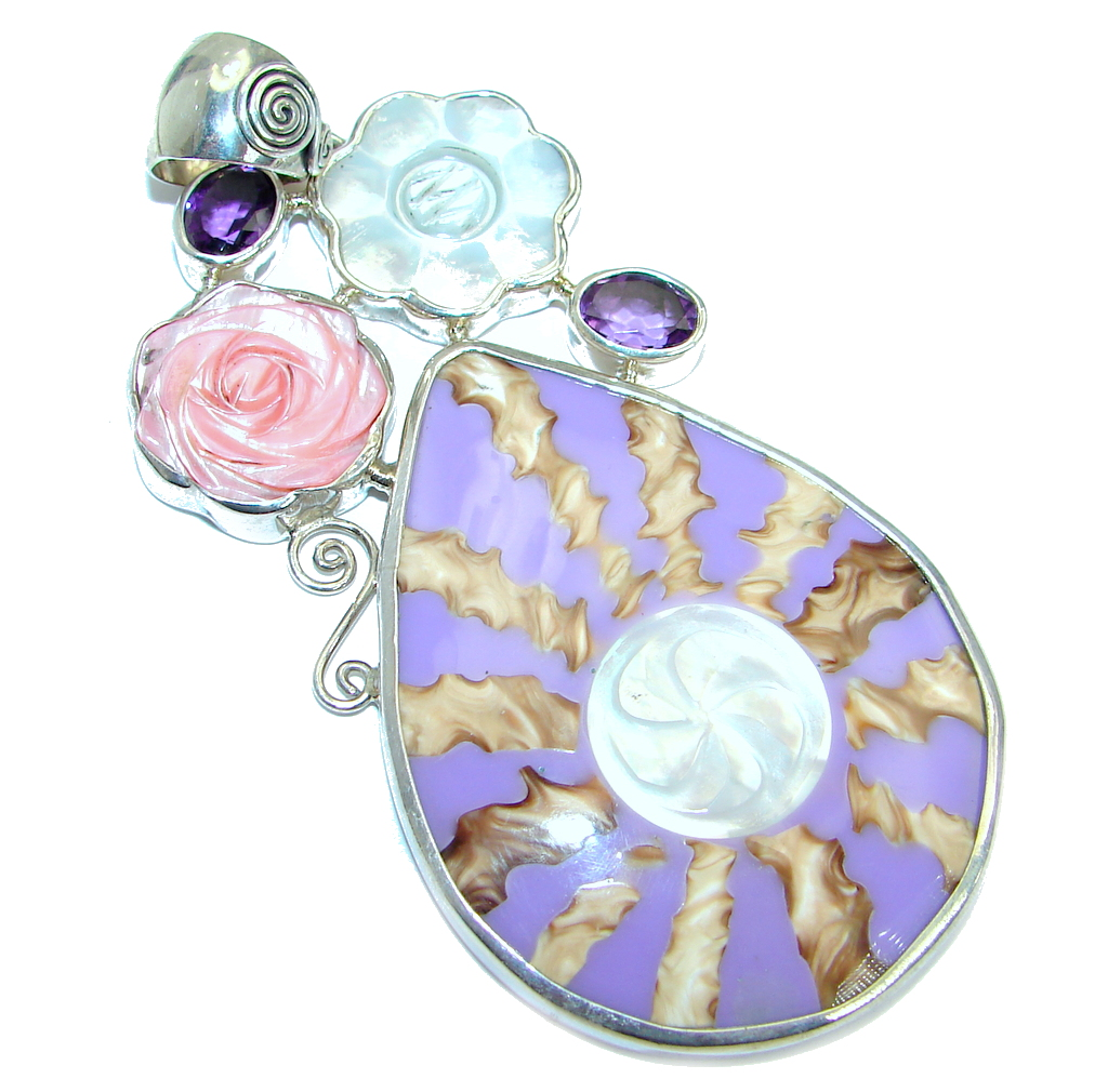 Huge Unique Purple Shell Blister Pearl Amethyst Sterling Silver Pendant