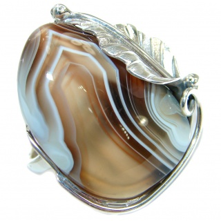 Natural Botswana Agate .925 Sterling Silver handmade Ring s. 8 adjustable
