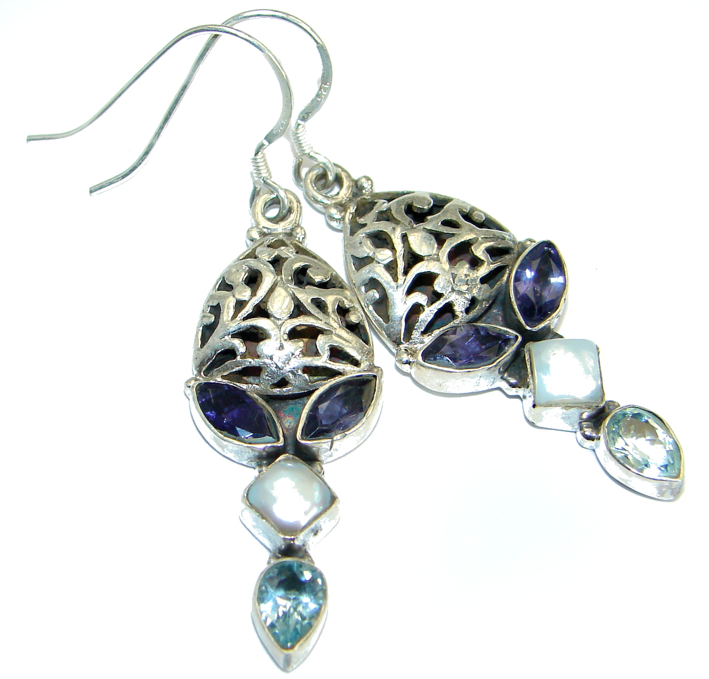 Secret Beauty Purple Iolite .925Sterling Silver earrings