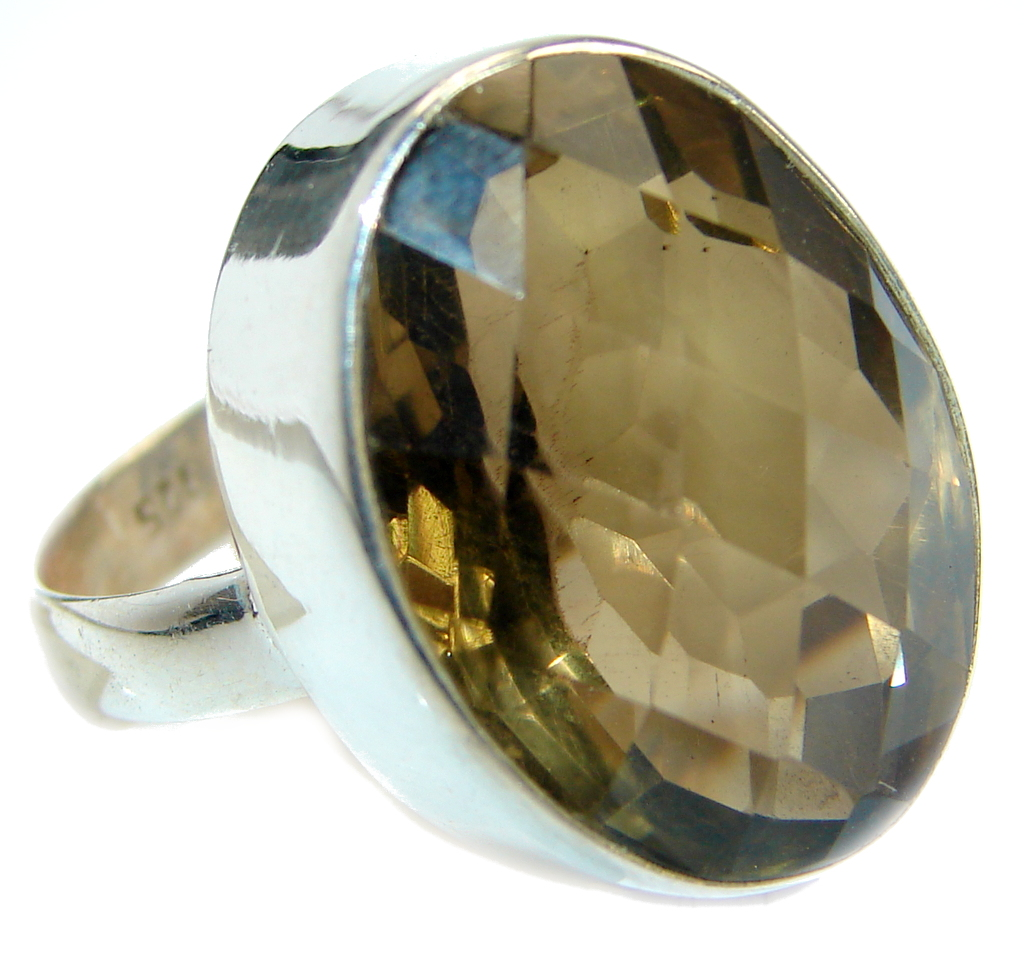 Huge Smoky Topaz .925 Sterling Silver Statement ring s. 11