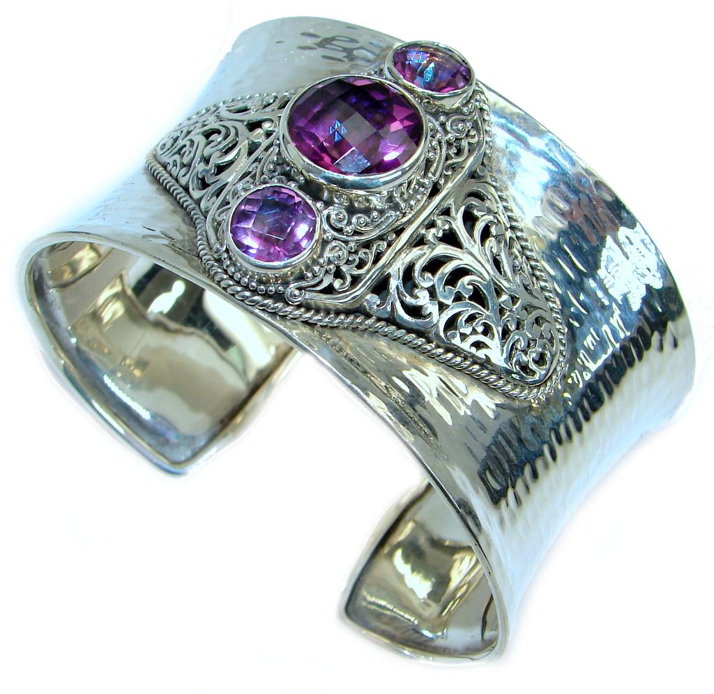 Chunky Luxury Aqua Magic Topaz Sterling Silver handmade Cuff/Bracelet