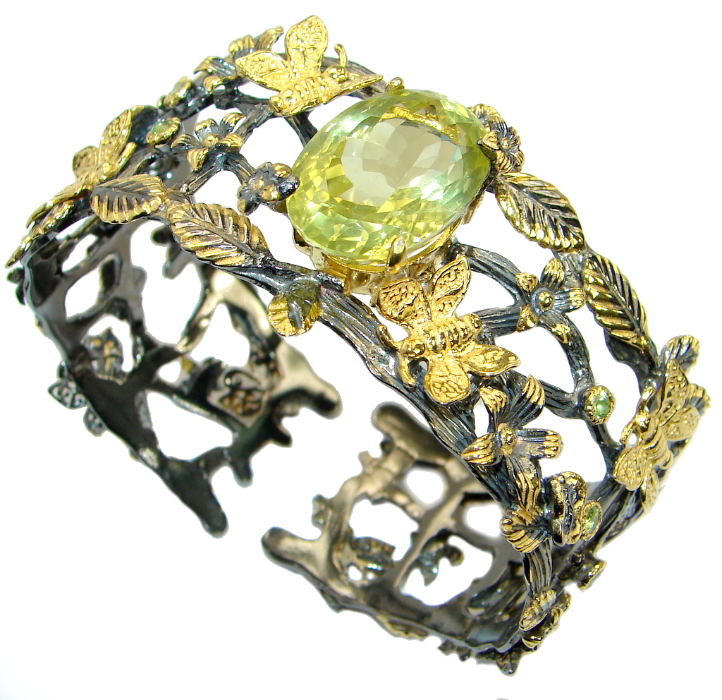 Floral Design Genuine 45ct Citrine Gold Rhodium over .925 Sterling Silver Bracelet / Cuff