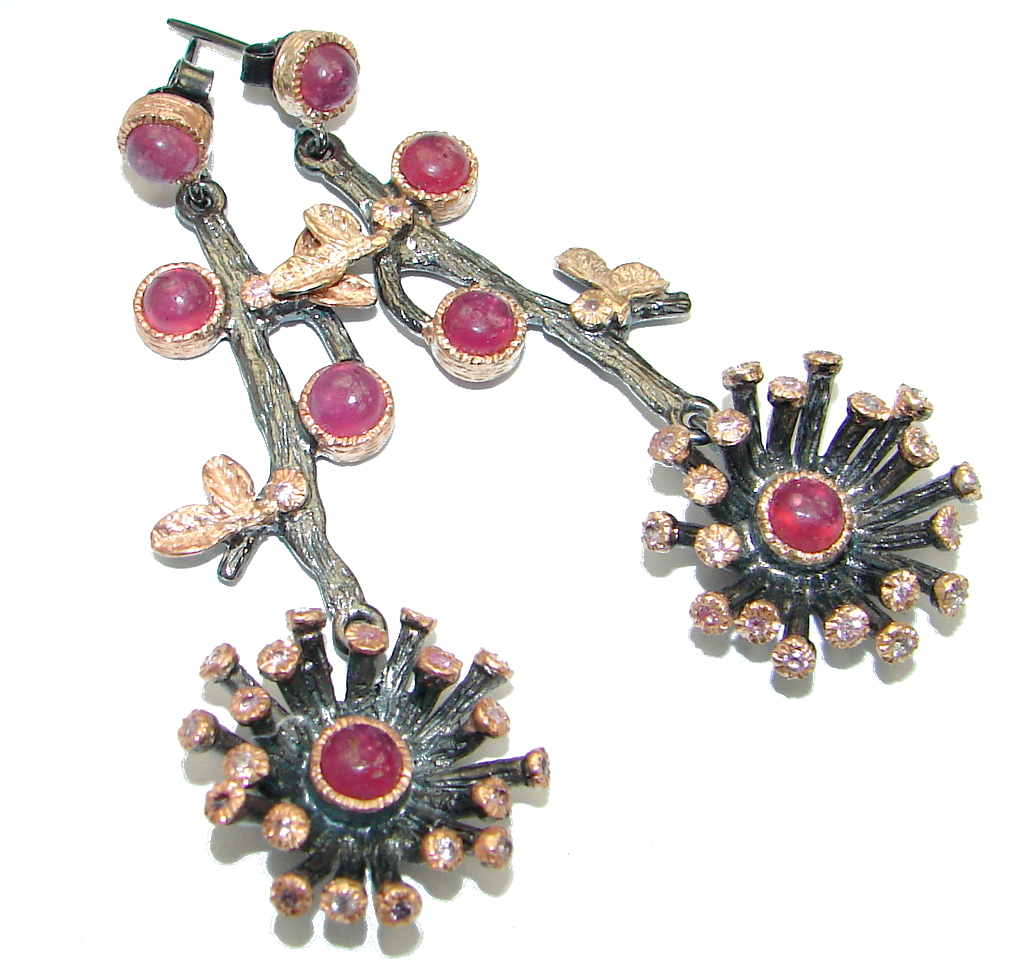 Unique natural Ruby Rose Gold over .925 Sterling Silver handmade earrings