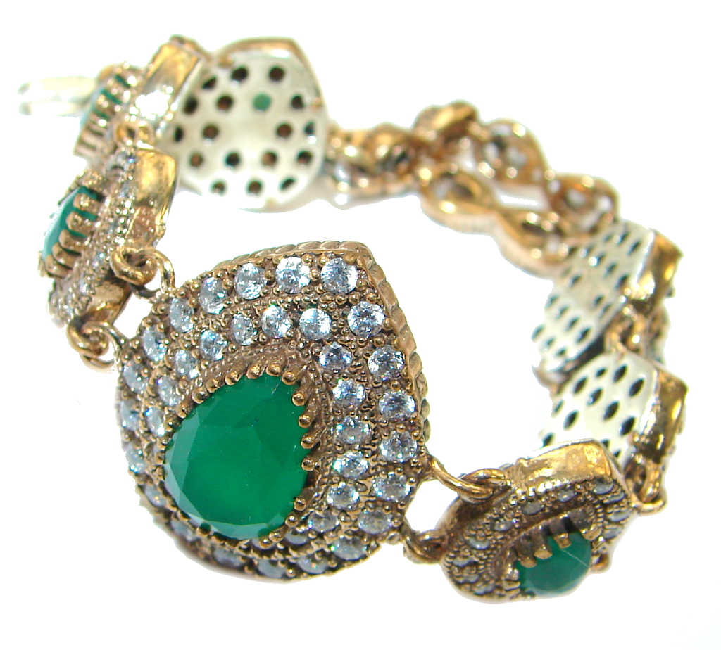 Flawless created Emerald Gold Rhodium plated over Sterling Silver Bracelet