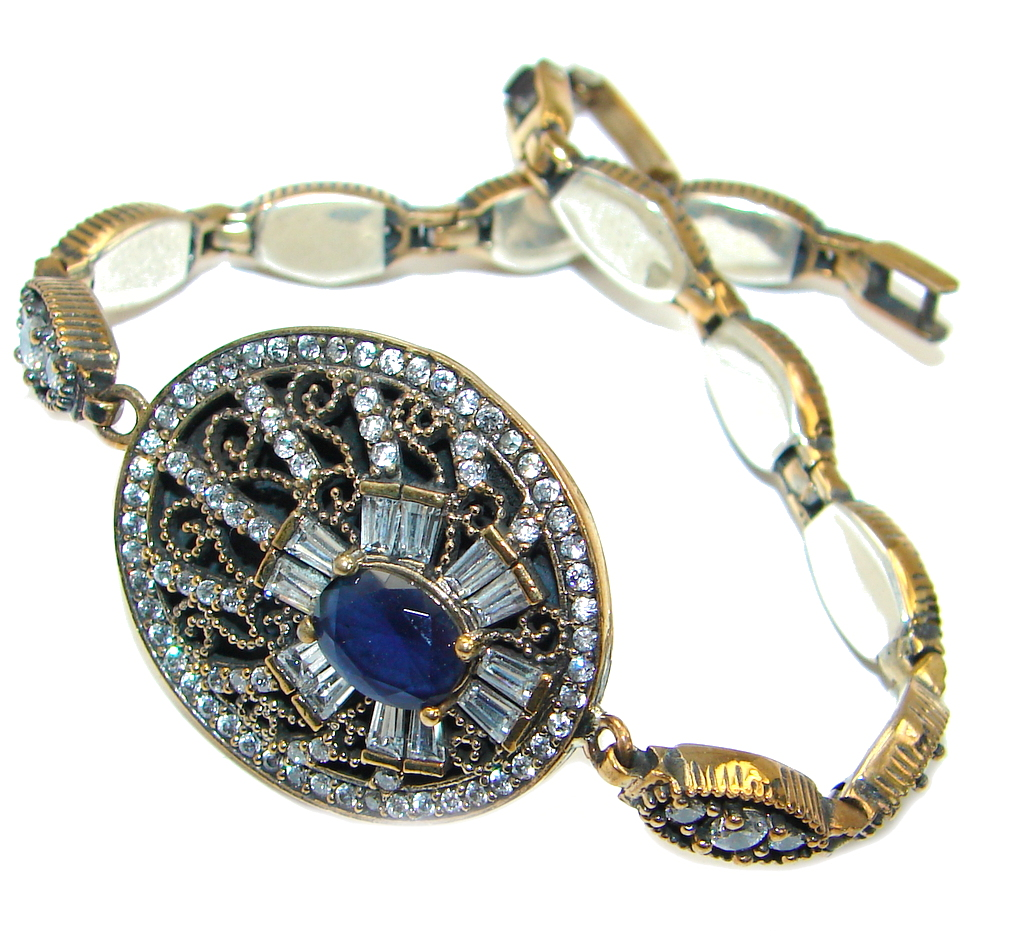 Flawless Faceted created Sapphire .925 Sterling Silver Bracelet