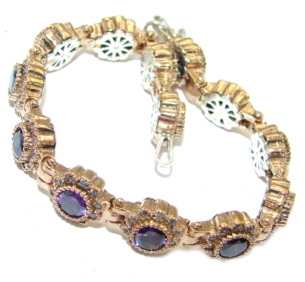 Flawless Faceted  created amethyst .925 Sterling Silver Bracelet