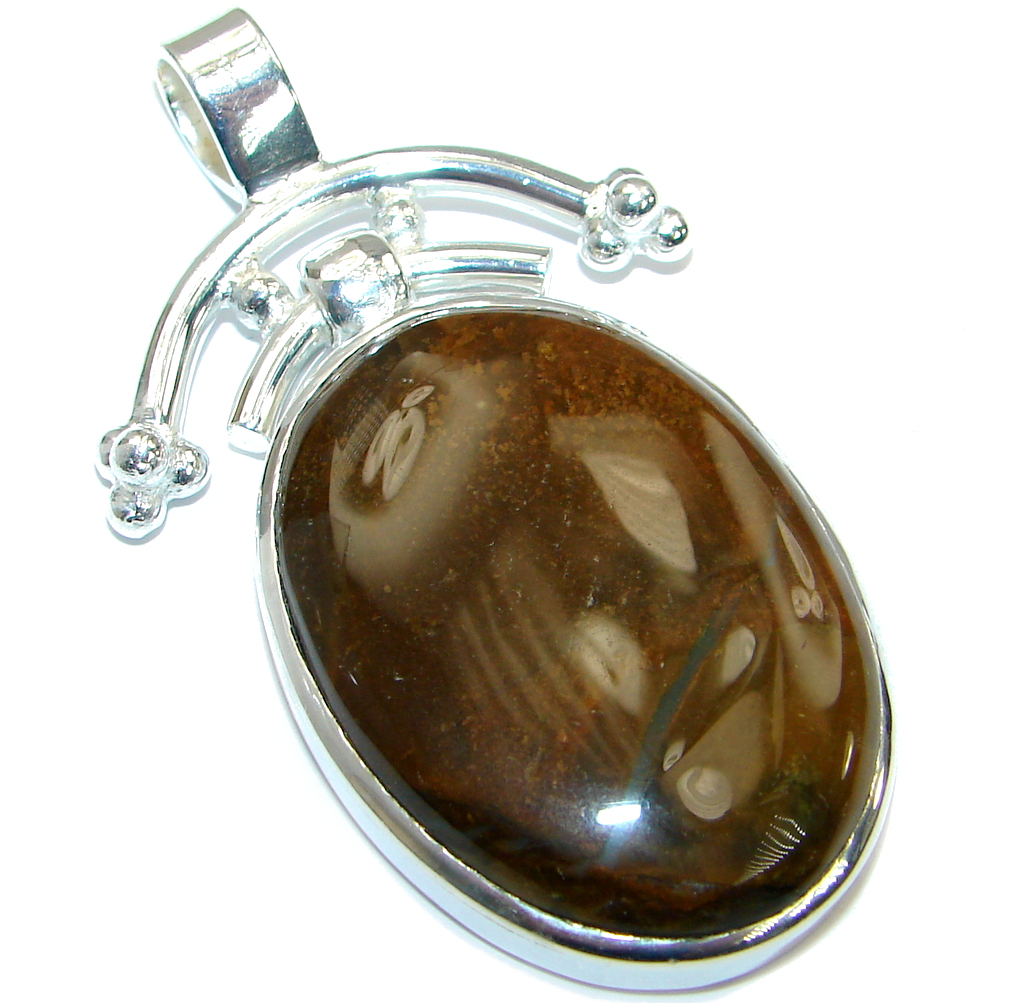 Large Simple Agate Silver...