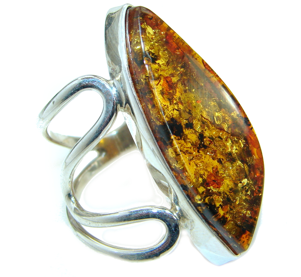 Luxury Genuine  Baltic Polish Amber  .925 Sterling Silver Ring size 6 adjustable