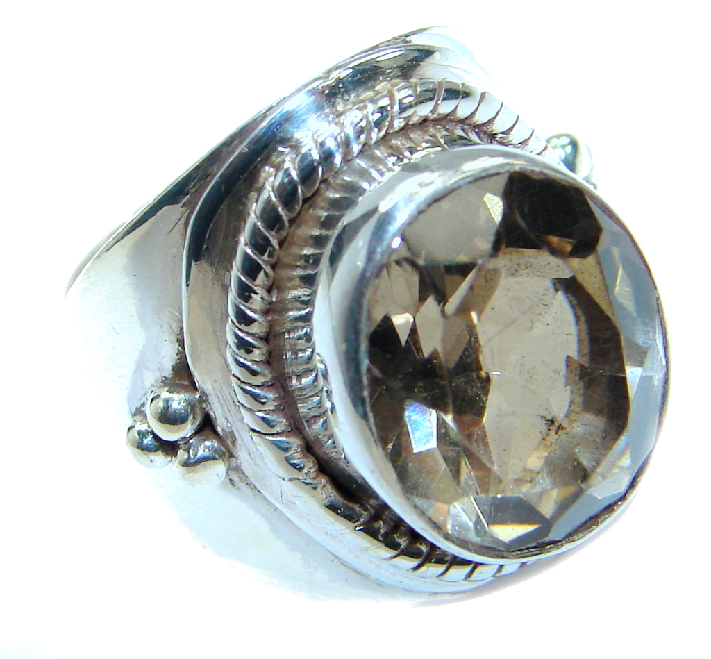Huge Smoky Topaz .925 Sterling Silver Statement ring s. 7
