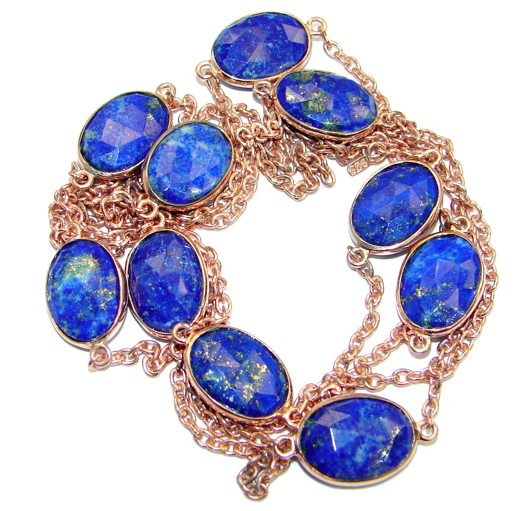 36 inches genuine Lapis Lazuli Rose Gold plated over .925 Sterling Silver Station Necklace