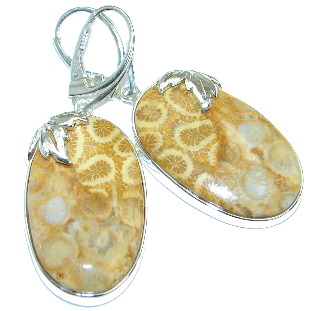 Genuine  Fossilized Coral  .925 Sterling Silver handmade Statement earrings