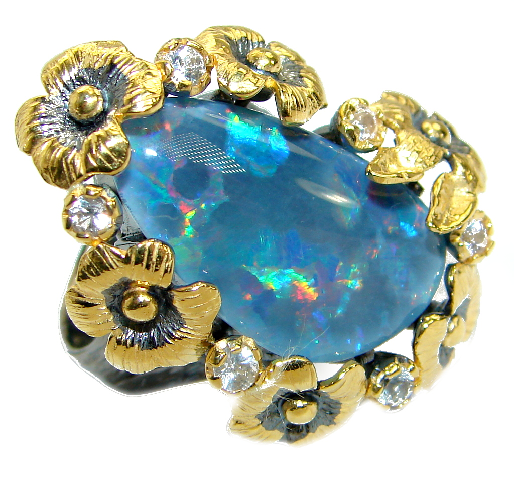 Doublet Opal Gold over oxidized .925 Sterling Silver handcrafted ring size 7..