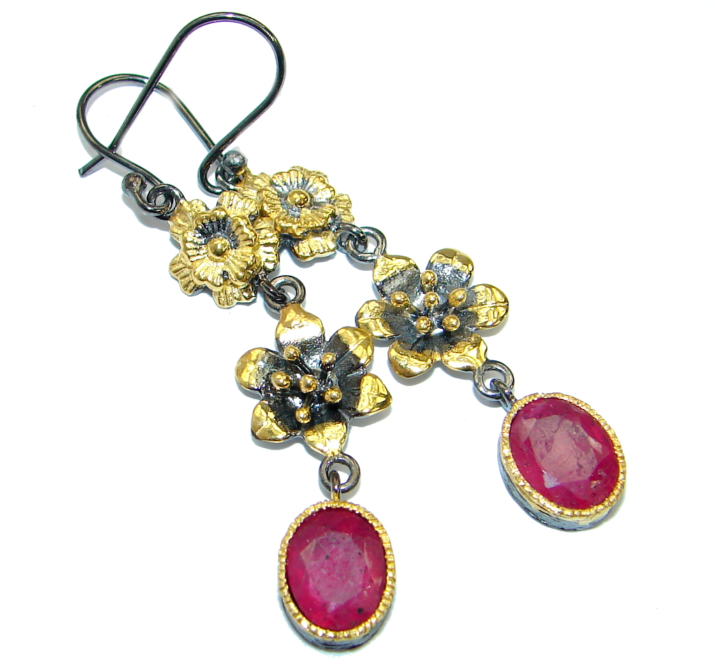 Unique genuine Ruby Gold Rhodium over .925 Sterling Silver handmade earrings