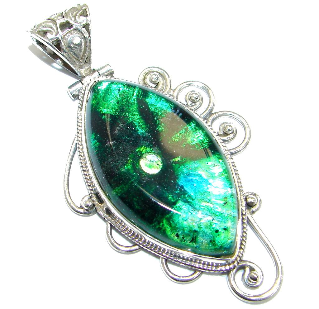 Dichroic glass jewelry earrings bracelets necklaces rings huge mexican dichroic glass 925 sterling silver handmade pendant aloadofball Gallery