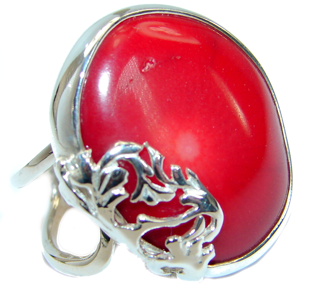 Gorgeous natural  Fossilized Coral .925 Sterling Silver handmade ring s. 8 a..