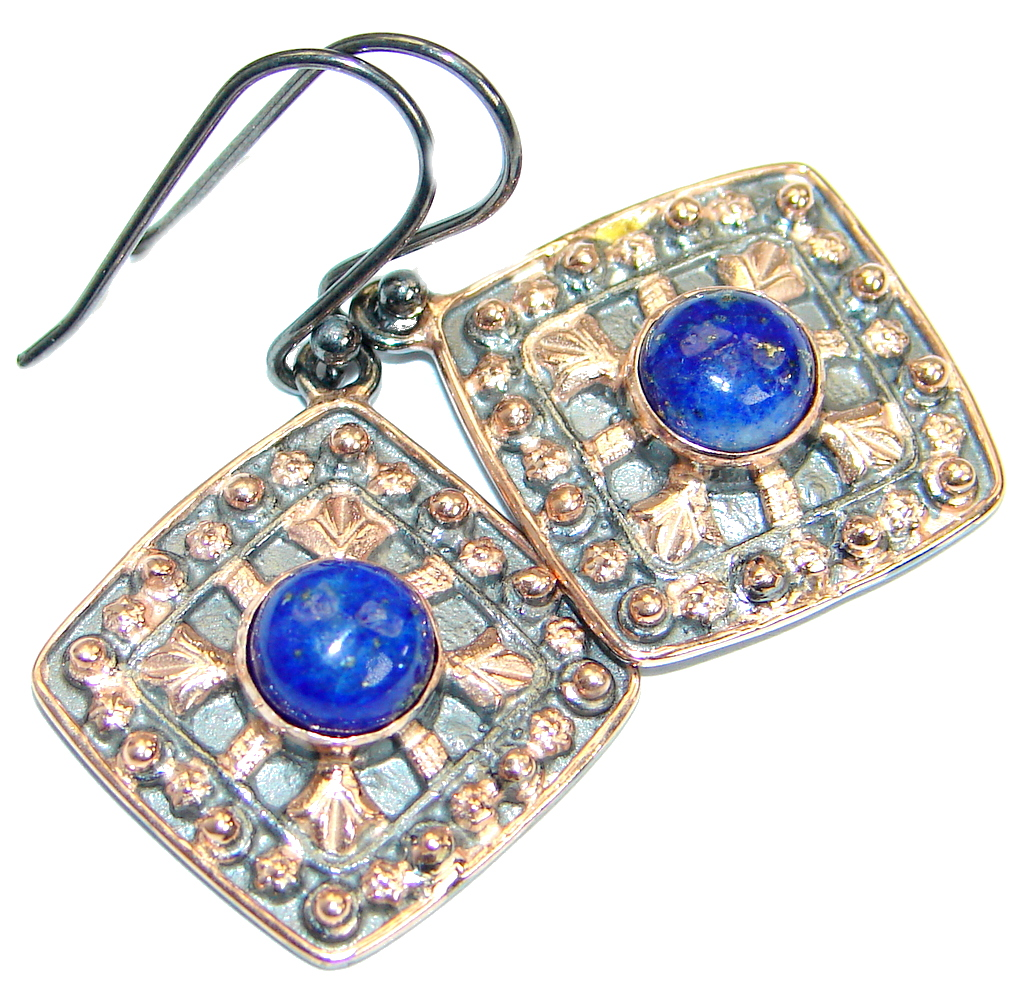 Genuine Blue Lapis Lazuli Rose Gold over .925 Sterling Silver handmade earrings