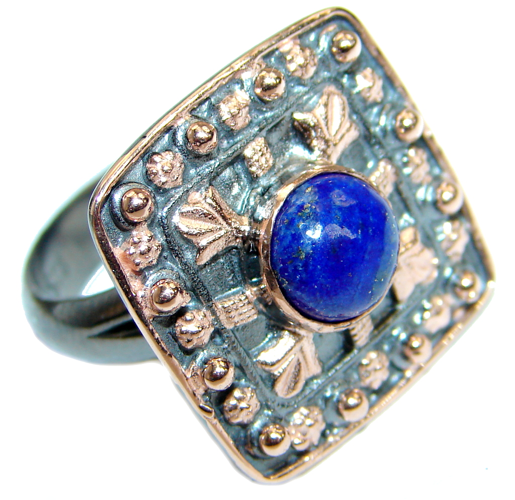 Genuine Lapis Lazuli .925 Sterling Silver handmade Ring size 7 adjustable