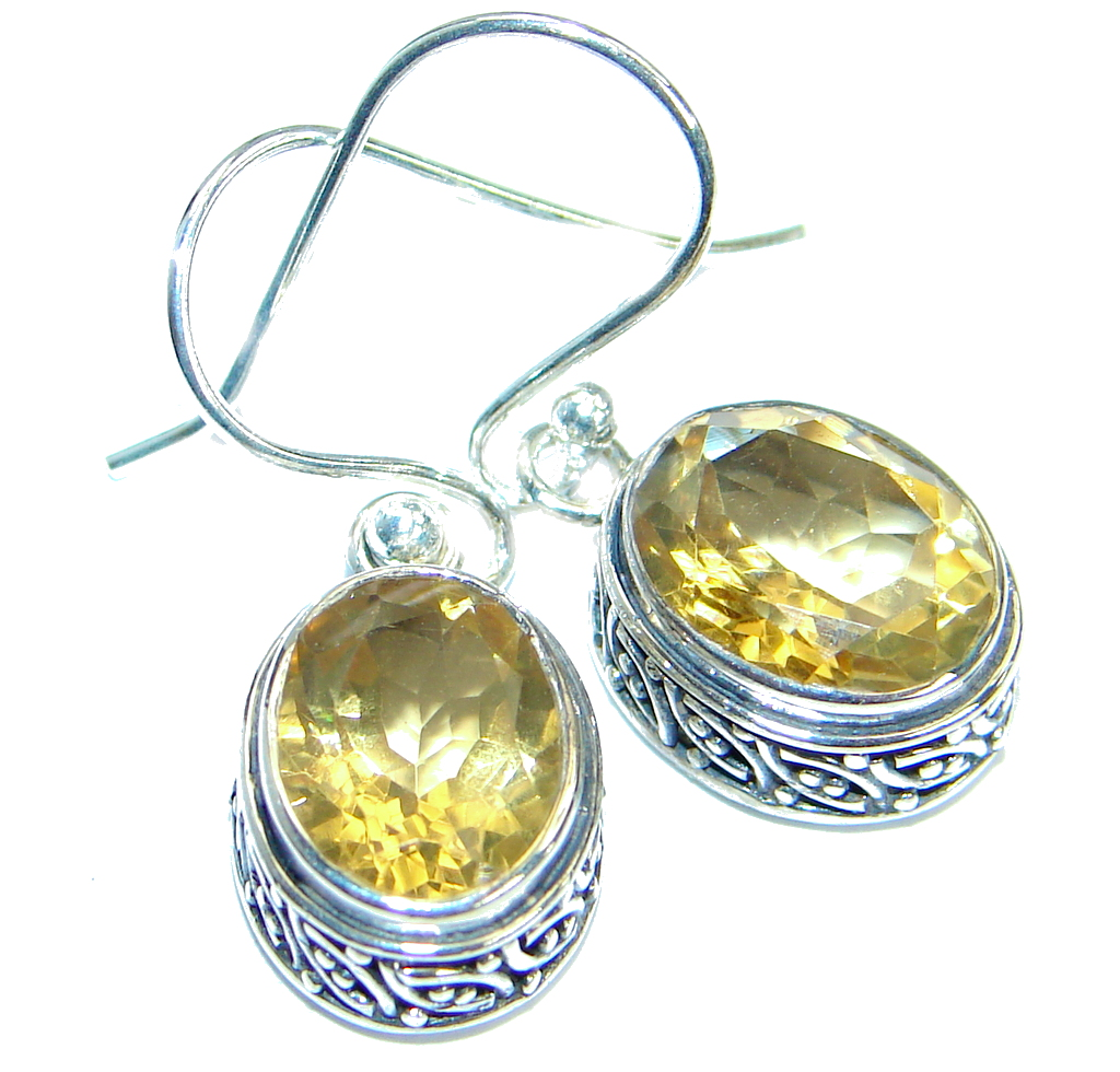 Authentic Citrine .925 Sterling Silver handmade earrings