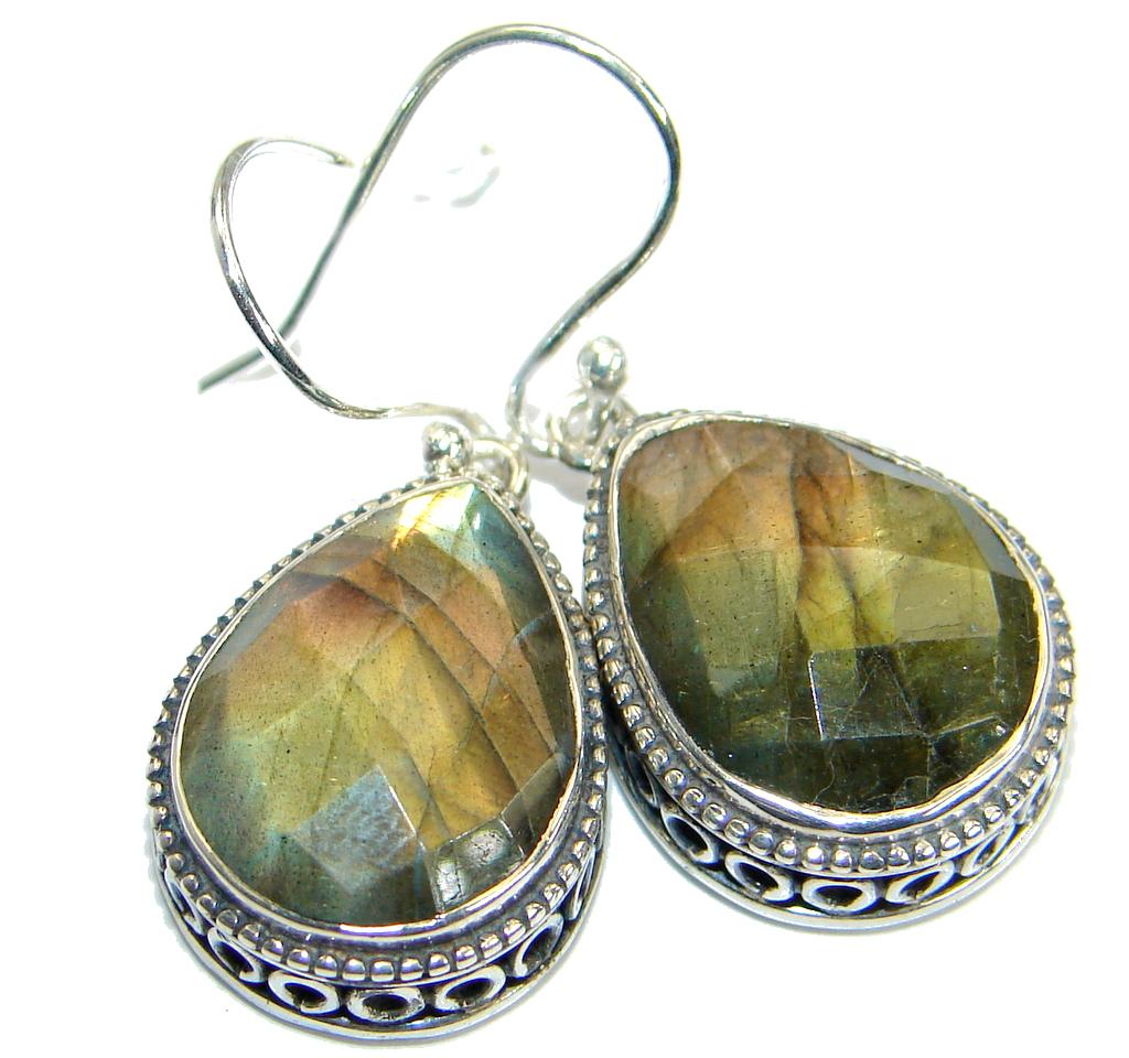 Genuine Labradorite .925 Sterling Silver handmade earrings