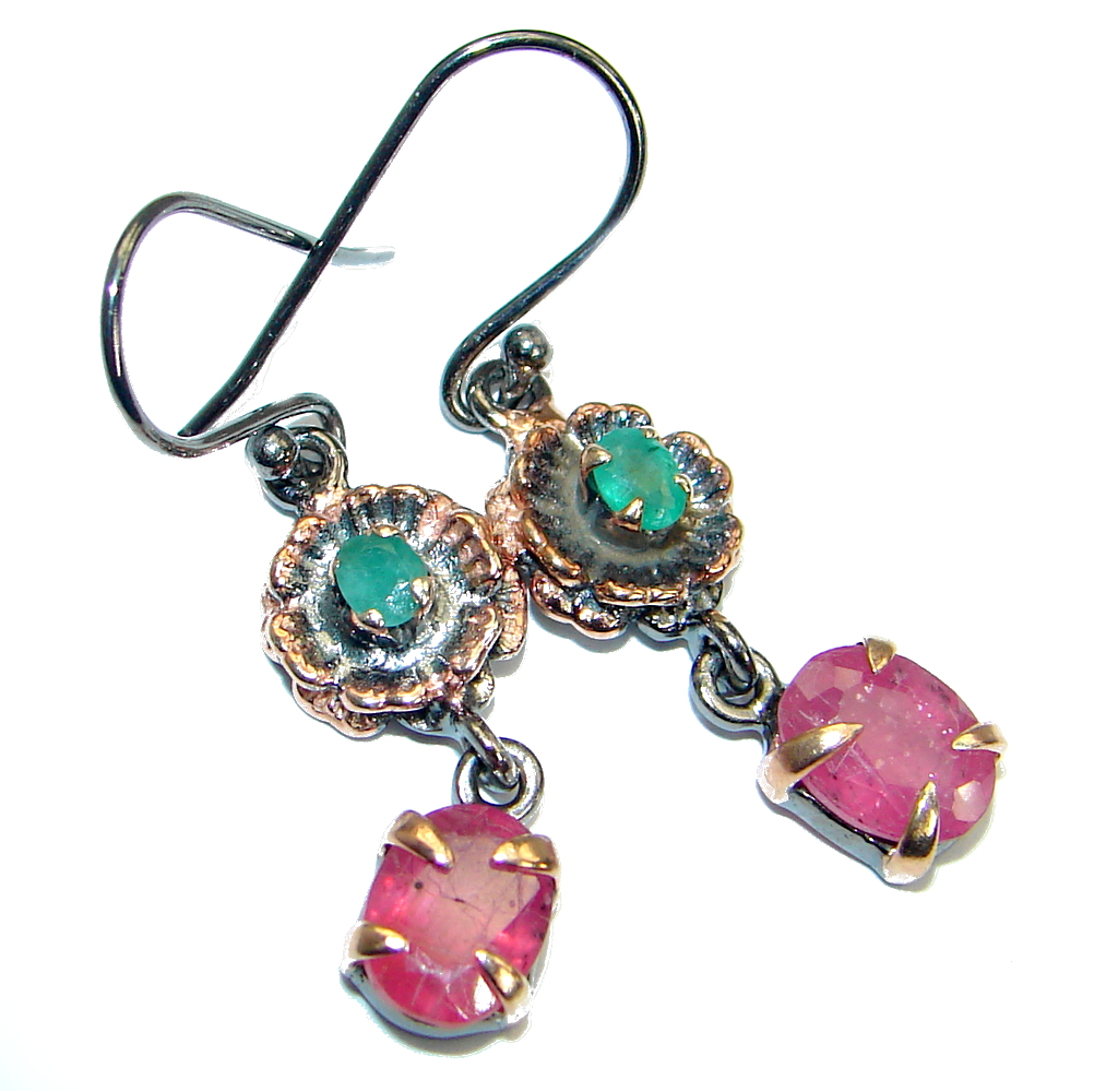 Unique  Ruby Rose Gold Rhodium over .925  Sterling Silver handmade earrings