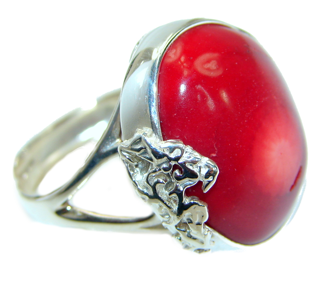 Gorgeous natural  Fossilized Coral .925 Sterling Silver handmade ring s. 7 a..