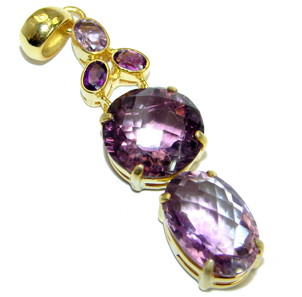 Authentic Amethyst Gold over .925 Sterling Silver handmade Pendant