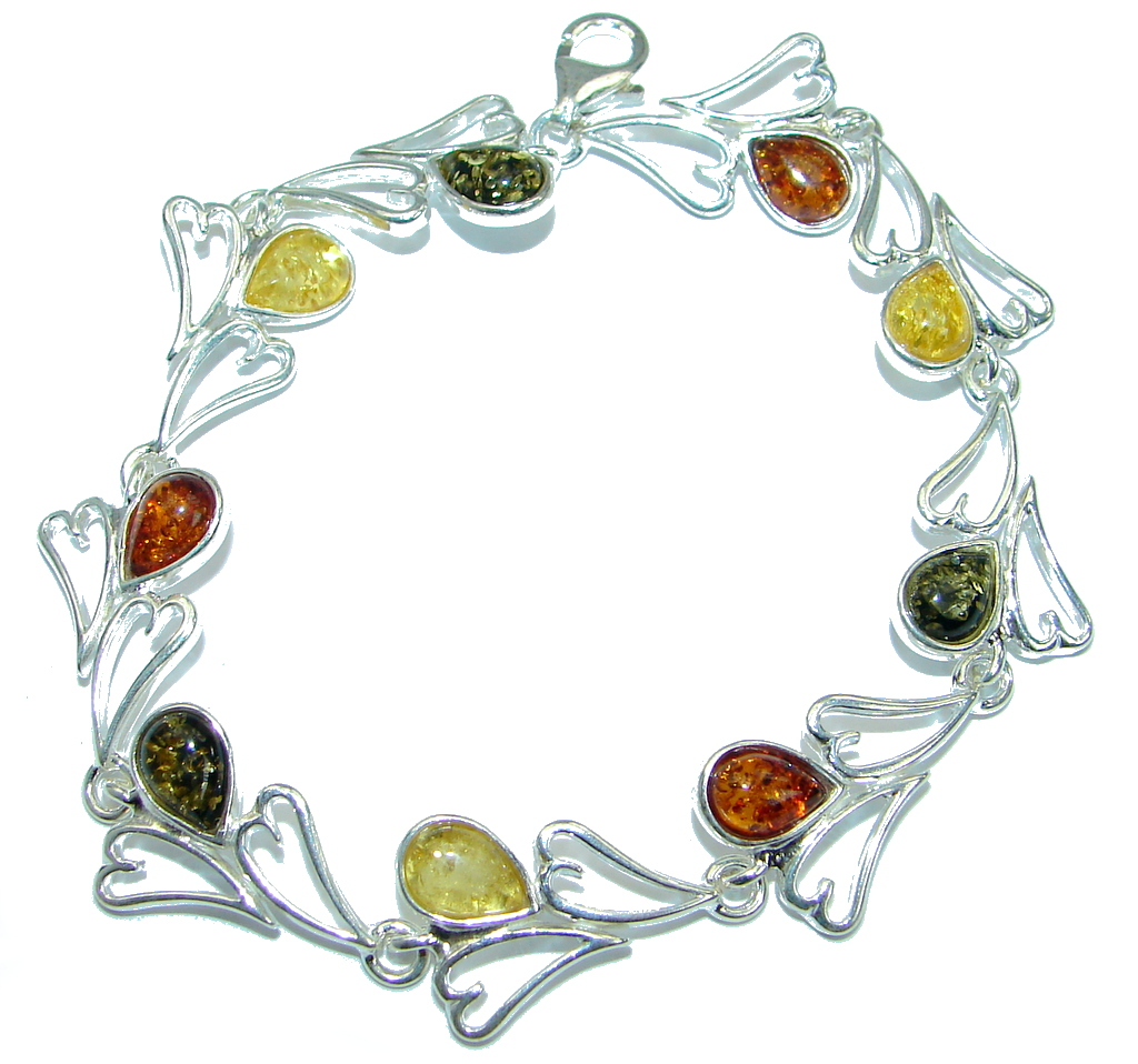 Beautiful Genuine Handcrafted Polish Amber .925 Sterling Silver Bracelet