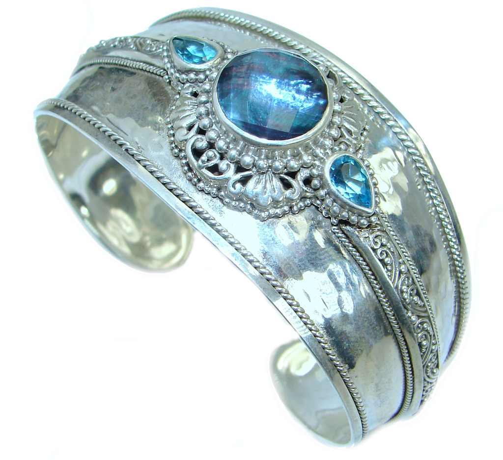Luxury Triplet Mother of Pearl Sterling Silver .925 Silver handmade Cuff/Bracelet