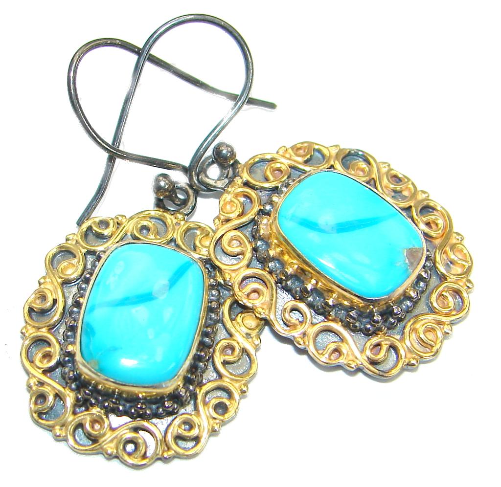 Genuine Sleeping Beauty Turquoise .925 Sterling Silver handcrafted Earrings
