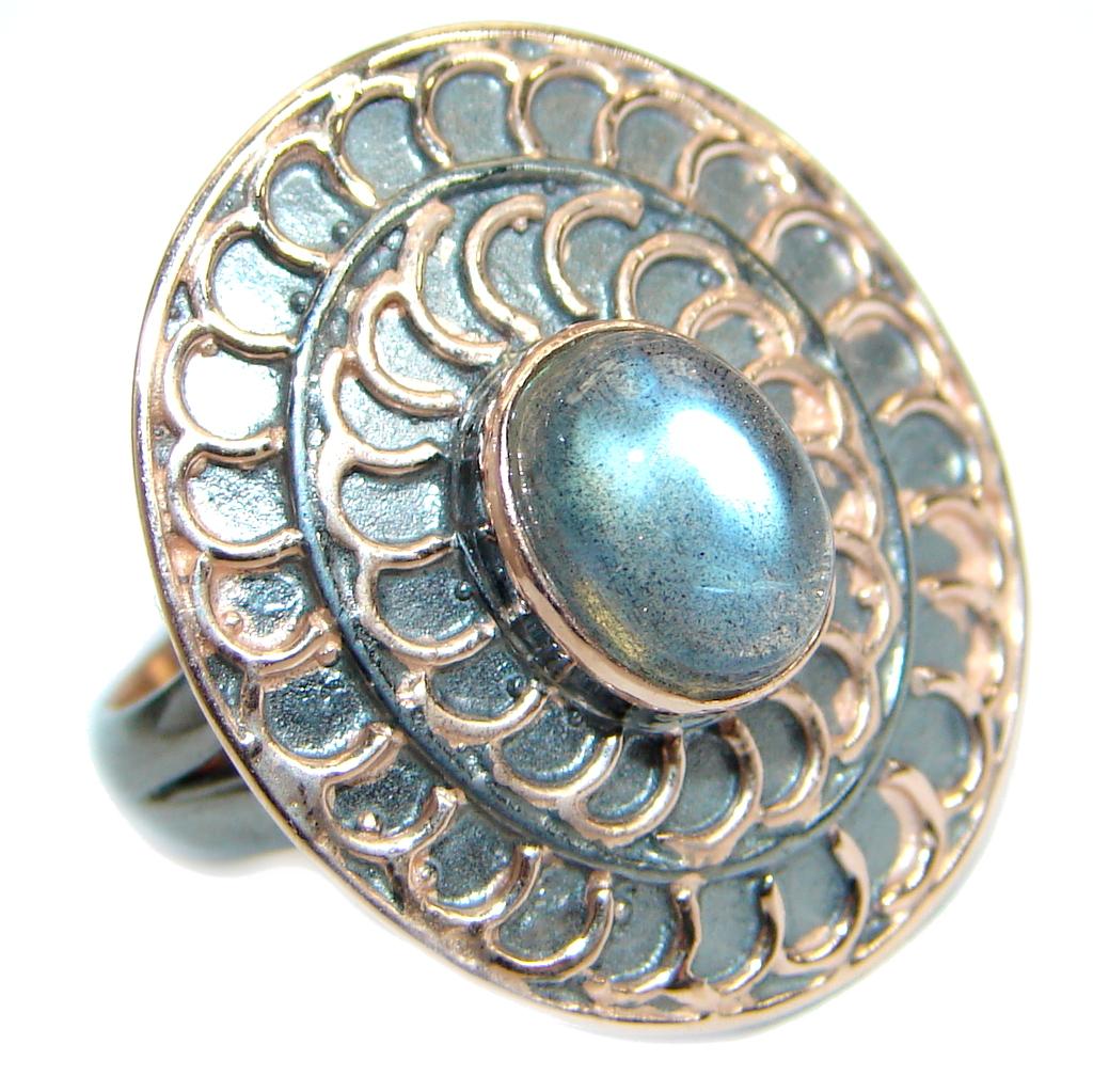 Vintage style Labradorite .925 Sterling Silver handmade ring size 7 adjustable