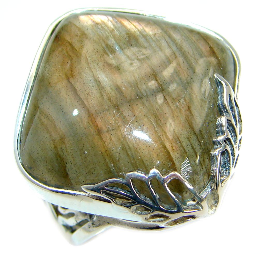 Fire Labradorite .925 Sterling Silver handmade ring size 7 adjustable