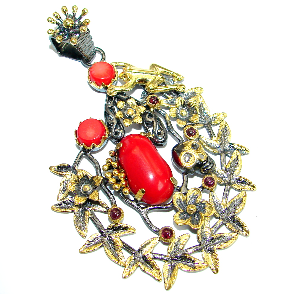 Frida Authentic Red Fossilized Coral Garnet .925 Coral Sterling Silver handm..