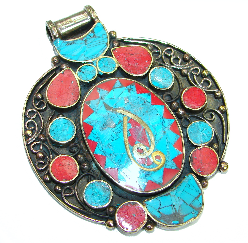 Authentic Red Fossilized Coral Turquoise .925 Coral Sterling Silver handmade..