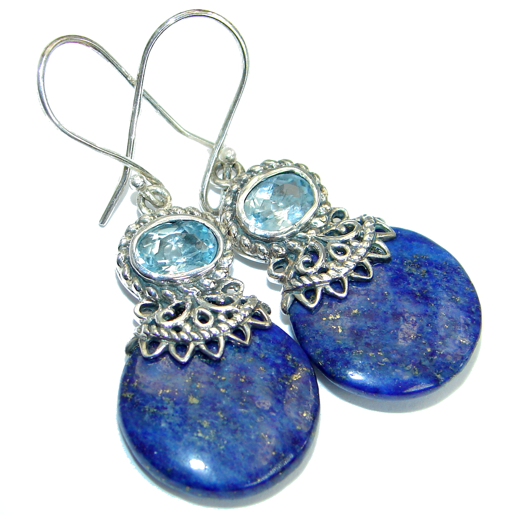 Handcrafted Genuine Lapis Lazuli Sterling Silver handmade earrings