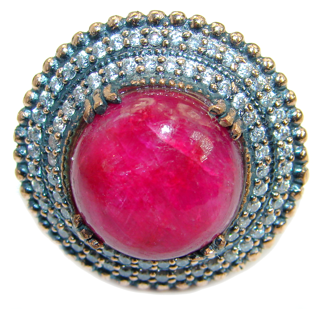 Large Victorian Style created Ruby & White Topaz Sterling Silver ring; s. 9