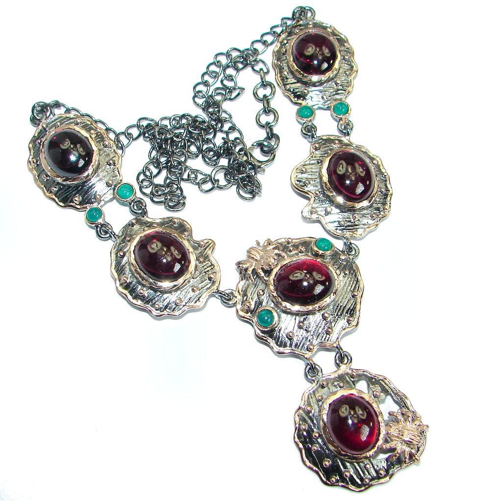 Fine Art Genuine Garnet 14K Rose Gold over .925 Sterling Silver handmade necklace