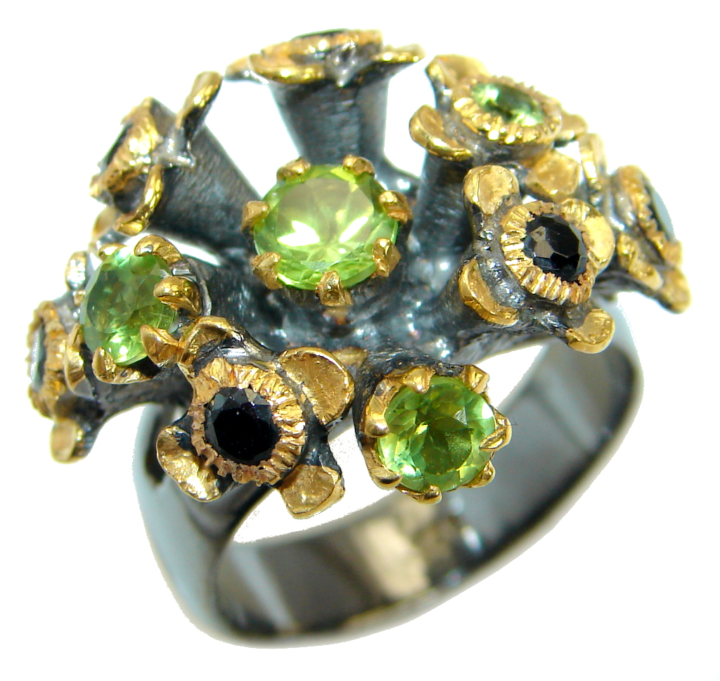Energazing  Peridot  Gold over oxidized .925 Sterling
