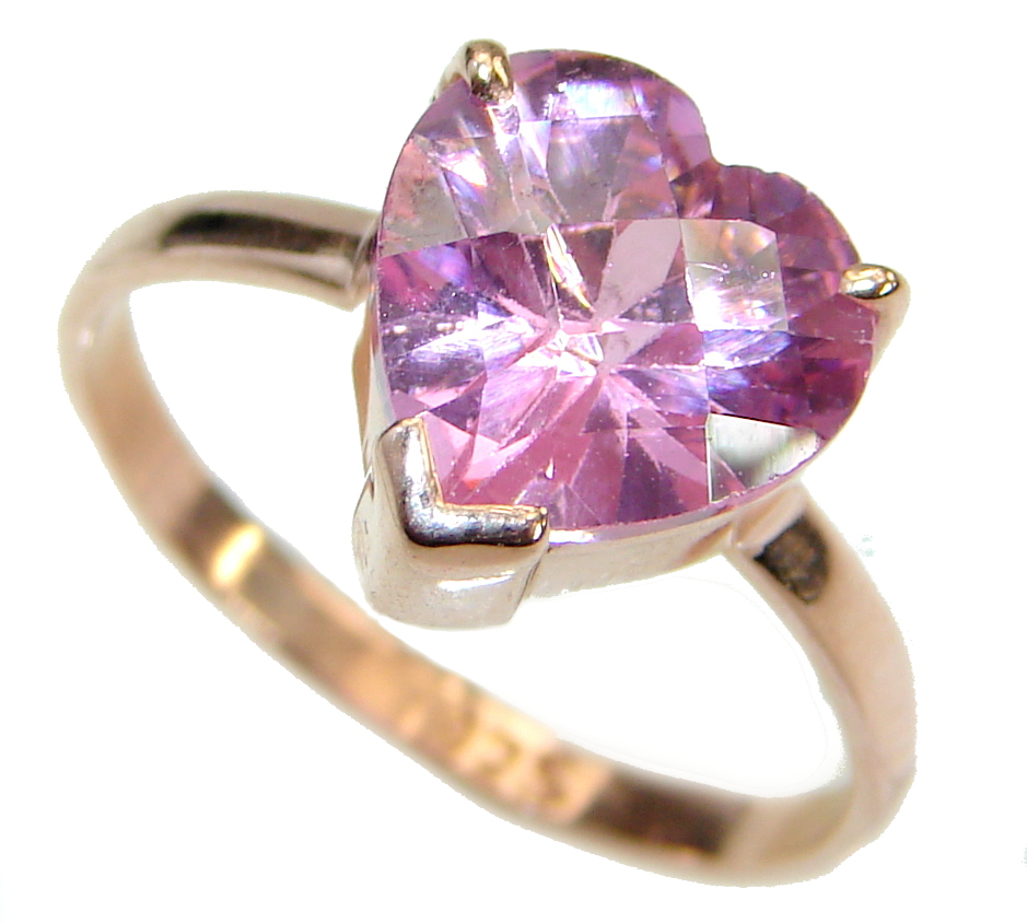 Classy  Pink  Topaz 14K Gold over .925 Silver Ring s. 7