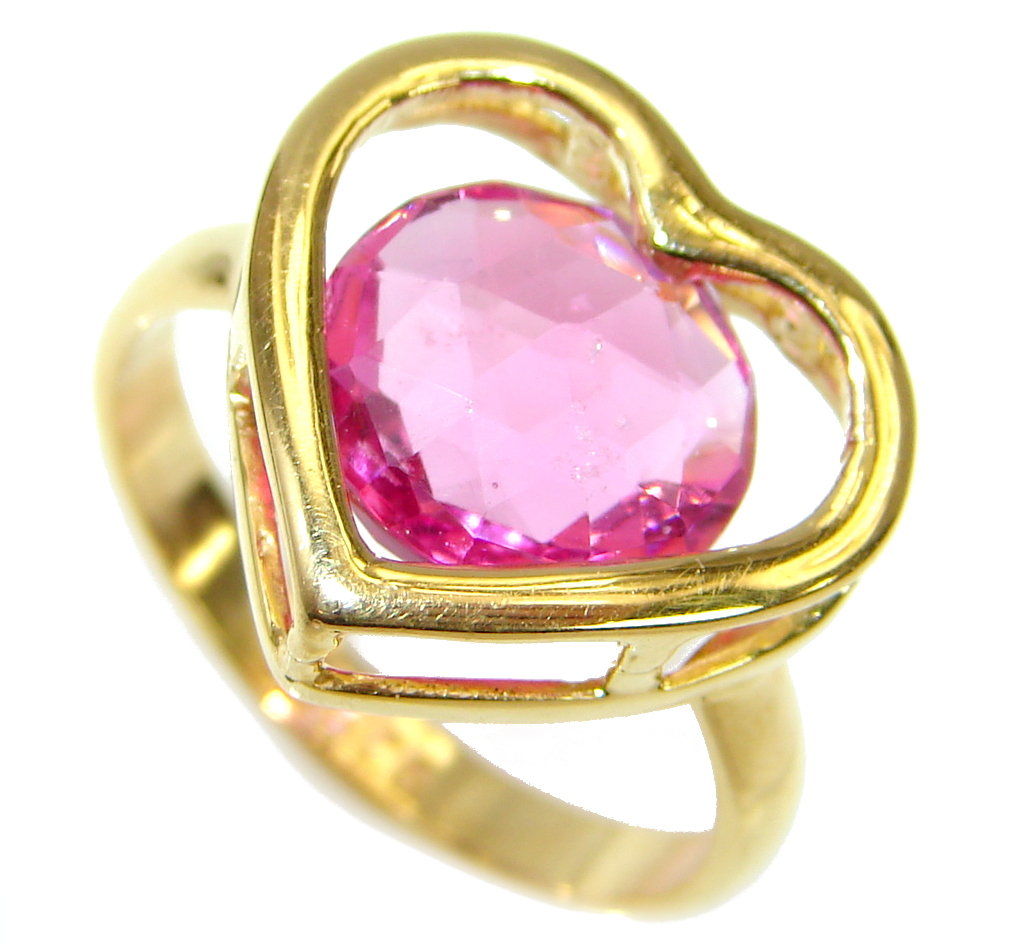 Exotic  Pink Topaz 14 K Gold over .925 Silver handcrafted  Ring s. 6