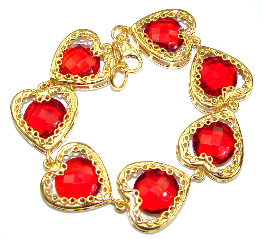 Chic Red Cubic Zirconia 14K Gold over .925 Sterling Silver handmade Bracelet