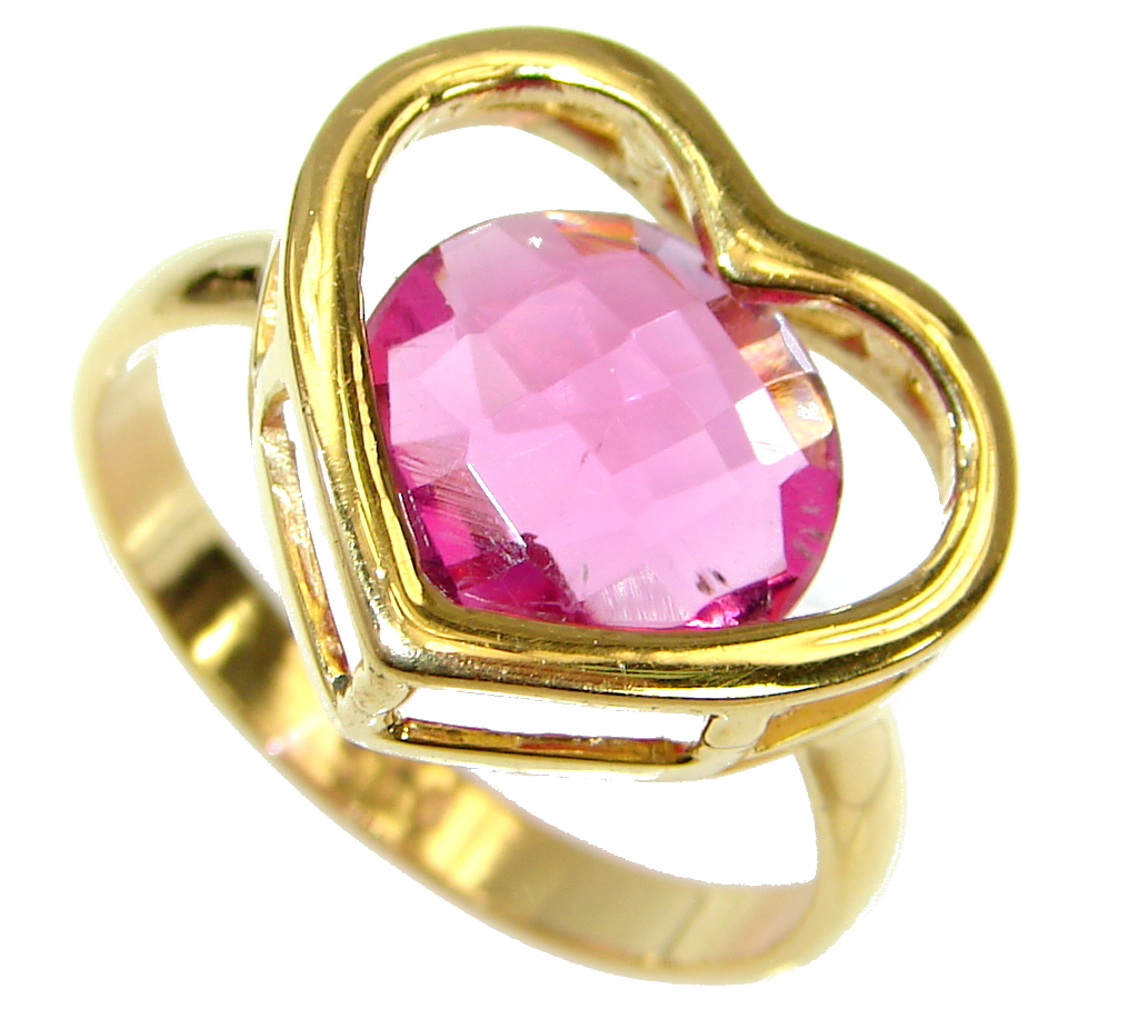 Sweet Heart Pink Topaz 14 K Gold over .925 Silver handcrafted  Ring s. 7