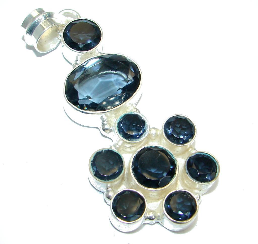Dark Blue  Glass  Silver Tone pendant