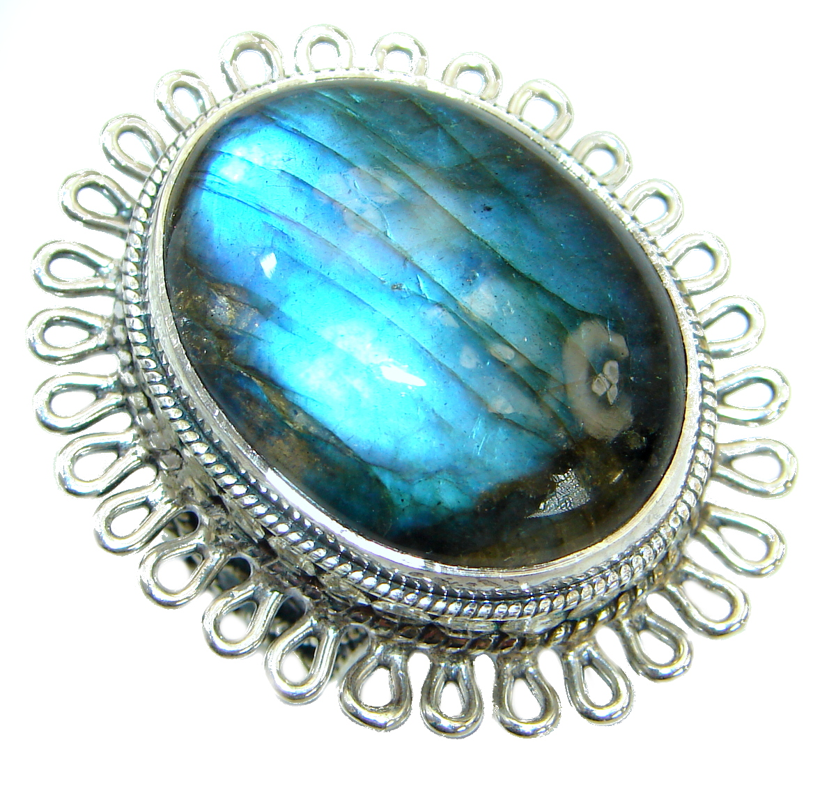 Huge 45ct Blue Fire Labradorite .925 Sterling Silver handmade ring size 6 1/2