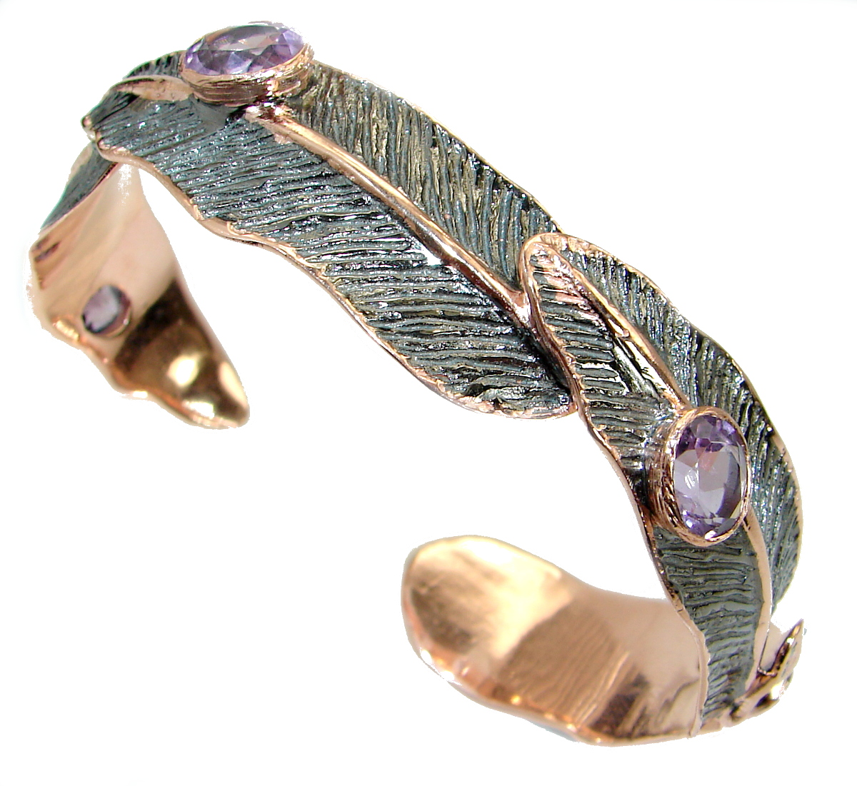 Real Treasure Genuine Amethyst Rose Gold over .925 Sterling Silver Bracelet / Cuff