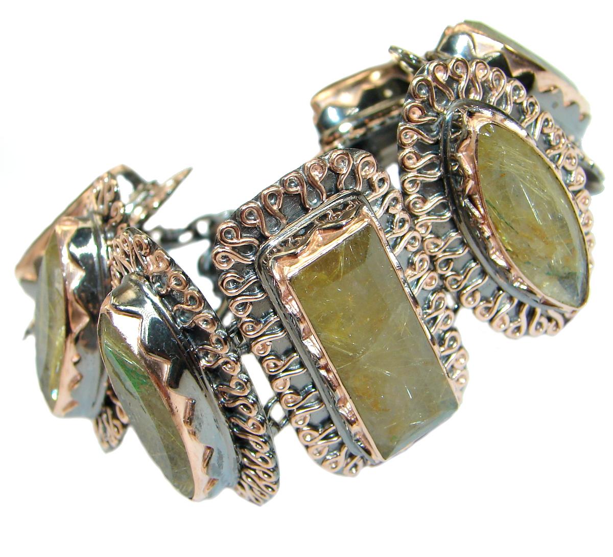 Gorgeous Vintage Designs Golden Rutilated Quartz Rose Gold over .925 Sterling Silver Bracelet