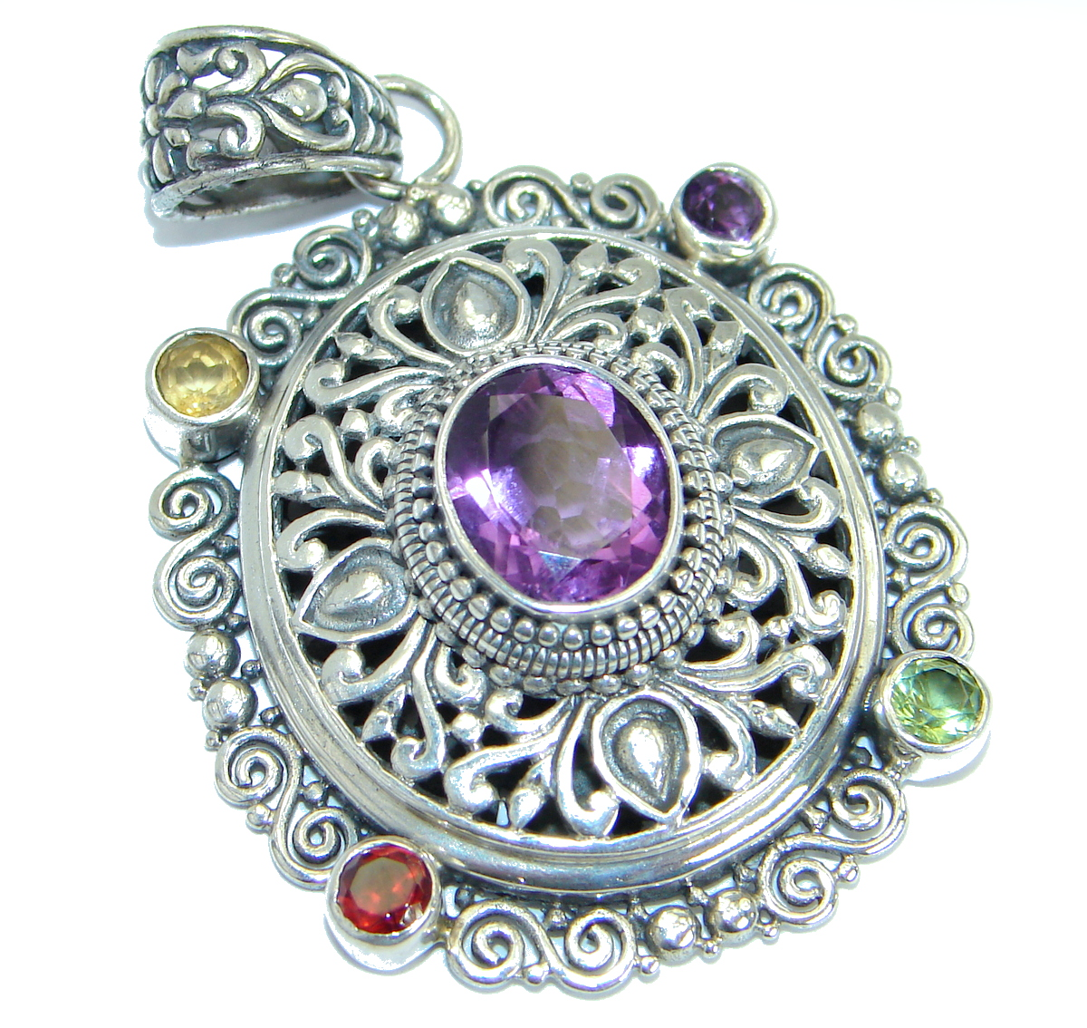 Rich Design Purple Amethyst .925 Sterling Silver handcrafted Pendant