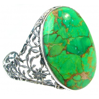 Large Green Turquoise with copper vains .925 Sterling Silver handmade Bracelet / Cuff