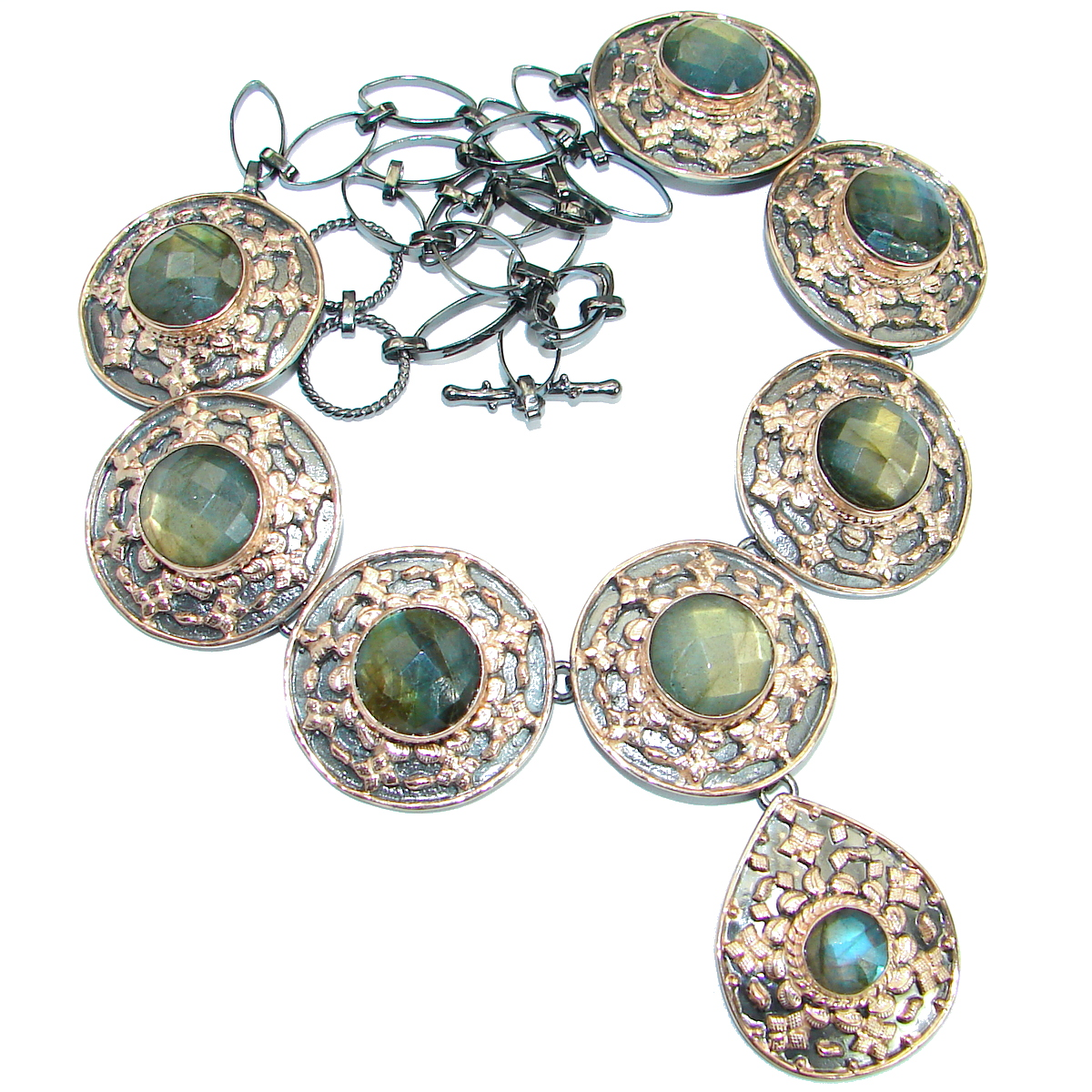 Vintage Design Labradorite Rose Gold .925 Sterling Silver entirely handcrafted necklace