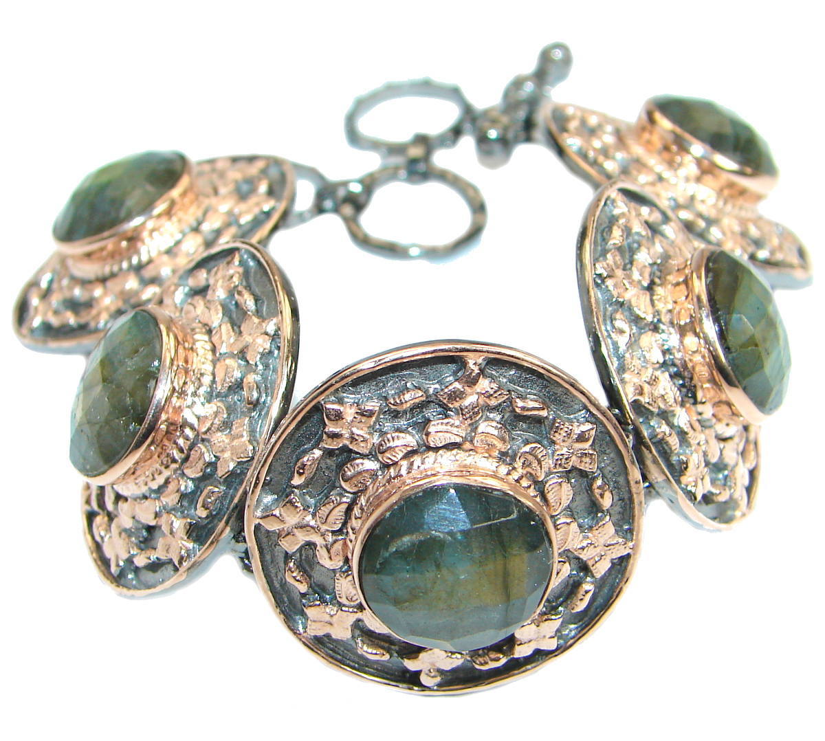 Cascade of light GENUINE Labradorite Rose Gold over .925 Sterling Silver handmade Bracelet
